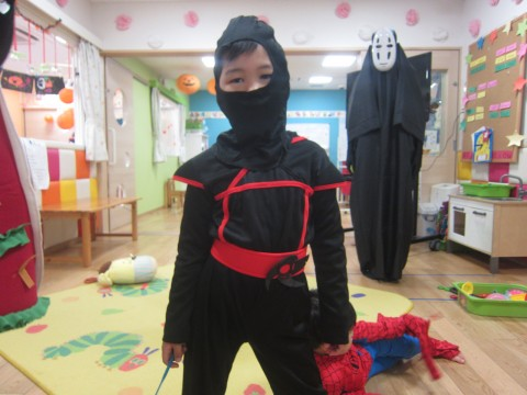 A ninja... with a special friend lurking in the background.