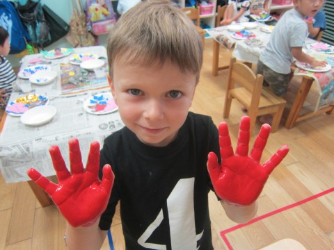 Painting our hands is always so much fun!
