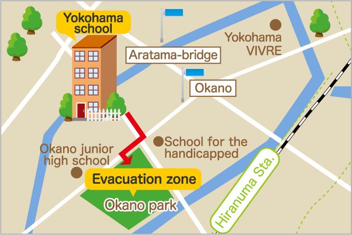 Evacuation zone: Okano Park map